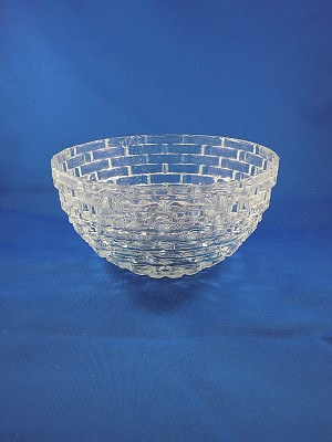 "Clear Square Pattern Bowl - 3 1/2"" Tall"