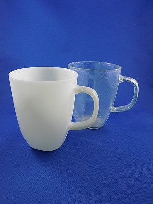 "Coffee Cups - Clear & White - 4"" Tall"