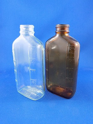 "Medicine Bottle 125ml - Clear & Brown - 5"" Tall"