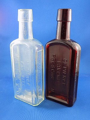 "Old Style Medicine Bottle - Clear & Brown - 8 1/4"" Tall"