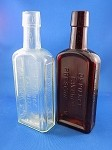 Old Style Medicine Bottle - Clear & Brown - 8 1/4